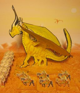 A Golden Elf Dragon from the Fantasy Wargaming Rules of Three Plains